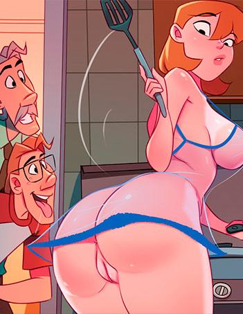 Desenho animado pornô: Café com sexo